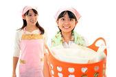 Child Carrying Laundry Busket — Zdjęcie stockowe