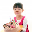 Little girl with birthday cake — Stock Photo