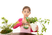 Smiling Asian girl with plant — Stock Photo