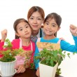 Smiling Children with mother — Stock Photo
