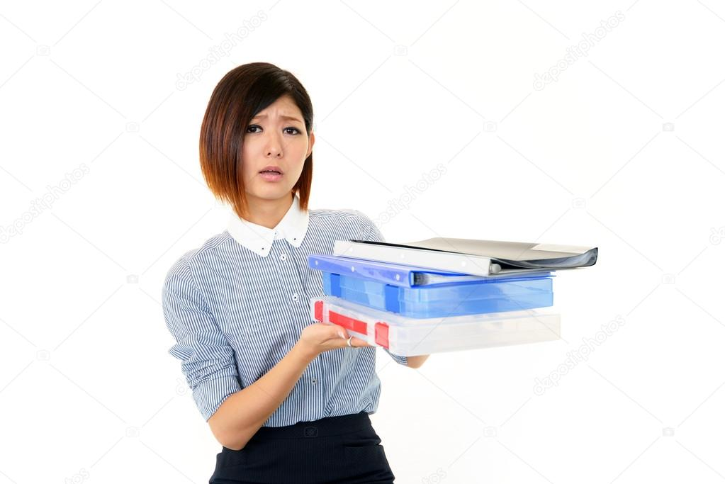 Tired and stressed young Asian woman  Stock Photo #19154605