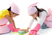 Girls cleaning — Stock Photo