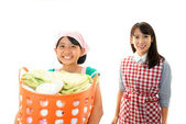 Child Carrying Laundry Busket — Stock Photo
