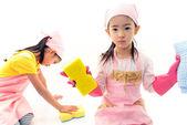 Chicas de limpieza — Foto de Stock