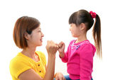 Happy Asian girl and mother — Stock Photo
