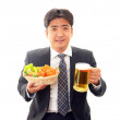 Happy man with meal — Stock Photo