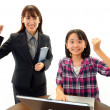 Smiling student with teacher — Stock Photo #22299803