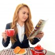 Businesswoman eating meals — Stock Photo