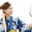 beautiful woman wearing yukata — Stock Photo