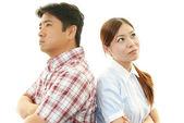 Stressad kvinna och man — Stockfoto
