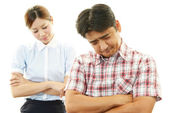Depressed woman and man — Stock Photo