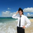 The man who relaxes on the beach. — Stock Photo