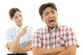 Stressed woman and man — Stock Photo