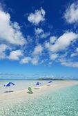 The beach and the beach umbrellas of midsummer. — Stock Photo