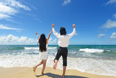 Man and woman enjoy the sun — Stock Photo