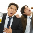 Drunk businessmen with beer — Stock Photo