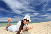 Beautiful beach and woman — Stock Photo