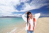 Beautiful beach and woman — Zdjęcie stockowe