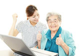 Smiling old woman and a teacher — Foto de Stock