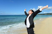 Man on the beautiful beach — Stock Photo
