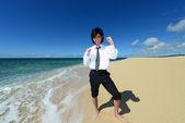 Man on the beach — Stock Photo