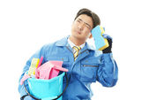 Tired and stressed Asian worker — Stock Photo