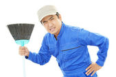 Tired Janitorial cleaning service — Stock Photo