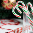 Christmas Candy Canes in a glass — Photo