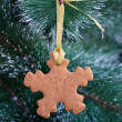 Snowflake gingerbread cookie on the Christmas Tree - Stock Photo