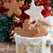 Stock Photo: Snowflake shape gingerbread cookies