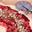 Dough for Rugelach with Raspberry jam — Stock Photo