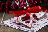 Heart shape Christmas chocolate gingerbread Cookie with red ribb — Stock Photo