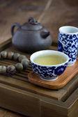 Accesorios de la tradicional ceremonia del té chino — Foto de Stock