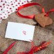 Love letter with heart shape cookies, hearts and red felt pen — Foto de Stock