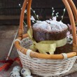 Traditional easter cake in the basket with Quail Eggs - Photo