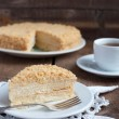 Classic Cake Napoleon of puff pastry with custard cream on a pla - Stock Photo