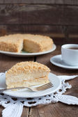 Classic Cake Napoleon of puff pastry with custard cream on a pla — Stock Photo