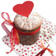 Saint Valentine's cake with red heart isolated in white — Stock Photo #20205407
