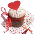 Saint Valentine's cake with red heart isolated in white — Stock Photo
