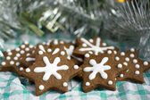 Christmas gingerbread cookies in a star shape — Stock Photo