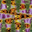 Art abstract orange, purple and green pattern background — Stock Photo