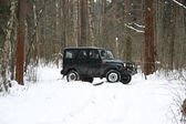 Off-road Action in the forest, 4x4, snow and vehicle — Stock Photo