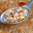 Vegetarian soup with quinoa, rice red, yellow lentils, corn, pep — Stock Photo #23566247