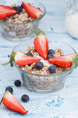 Delicious and healthy granola or muesli with nuts, raisins and b — Stock Photo