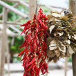 Bunches of dried red peppers and bay leaves - Stock Photo