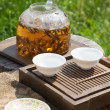 Traditional Chinese tea ceremony accessories, tea leaves in boil — Stock Photo