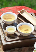 Traditional chinese tea ceremony accessories (tea cups) — Stock Photo