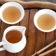 Traditional chinese tea ceremony accessories on the tea table, s — Stock Photo