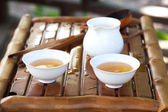 Traditional chinese tea ceremony accessories (tea cups and pitch — Stock Photo