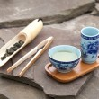 Traditional chinese tea ceremony accessories (tea cups and bambo — Stock Photo